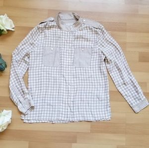 Equipment checkered army style silk long sleeve